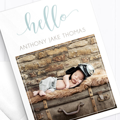 Monogram Birth Announcement Card with Photo for a baby boy
