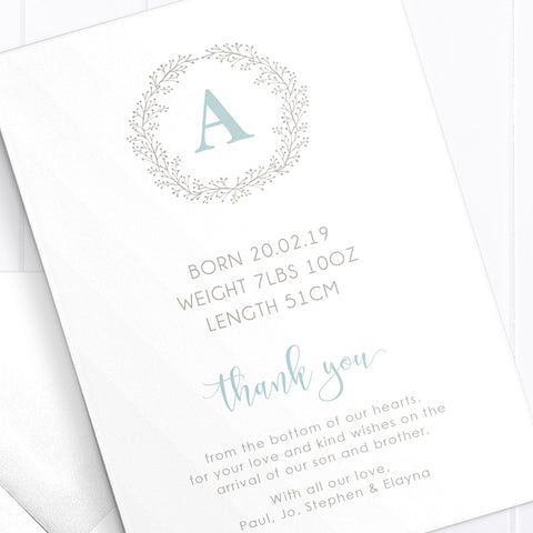 Monogram Photo Birth Announcement Card with large Hello
