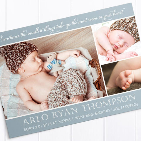 Baby boy birth announcement card with 3 photos and large monogram