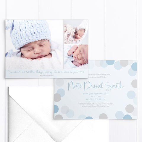 Baby boy birth announcement card, 3 photos of your baby
