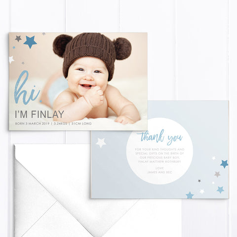 Baby boy photo birth announcement card, large photo and blue stars, printed double sided