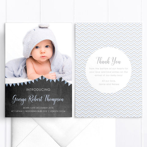 Cute baby thank you photo card with chalkboard background and bunting