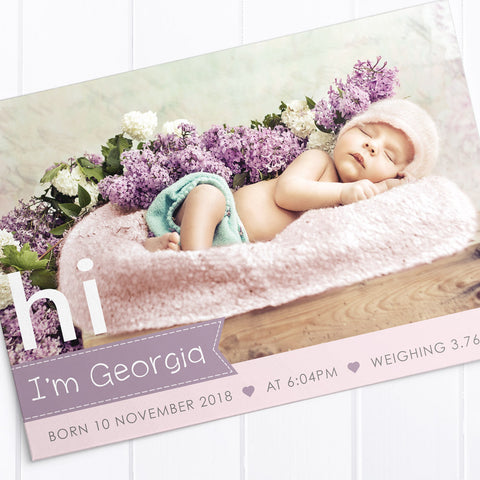 Baby girl photo birth announcement card. Baby elephant and balloon.