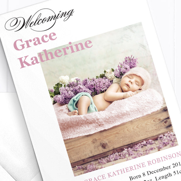 Baby Girl Birth Announcement - Grace Katherine