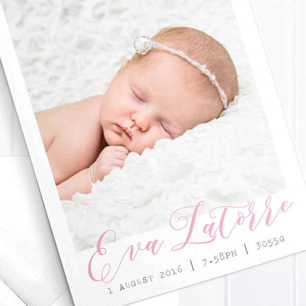 Baby Girl Birth Announcement - Graceful Flower