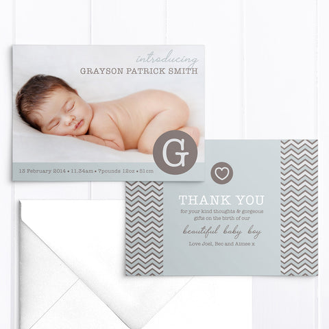 Grayson baby boy photo thank you card with monogram and love hear