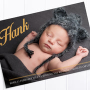 Postcard style baby photo announcement card with traditional fonts
