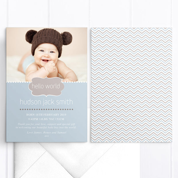Hudson baby photo birth announcement card for boy, blue and chocolate brown