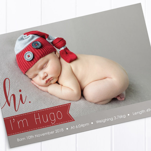Red and grey baby photo thank you card design with large hi