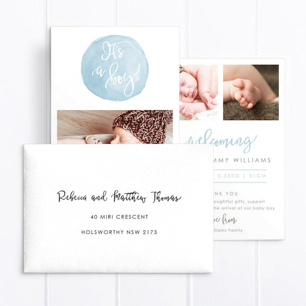 Multiple photo birth announcement card, double sided, blue and brown