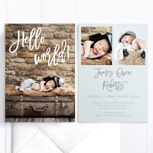 Hello World modern baby thank you announcement card, 3 baby boy photos