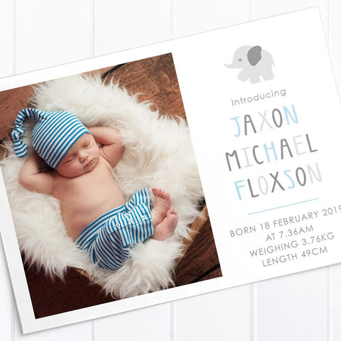 Sweet blue and brown photo boy announcement card, double sided printing
