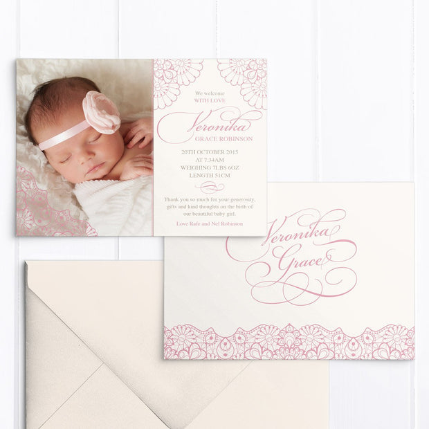 Baby birth announcement card with your photo and pink lace detail