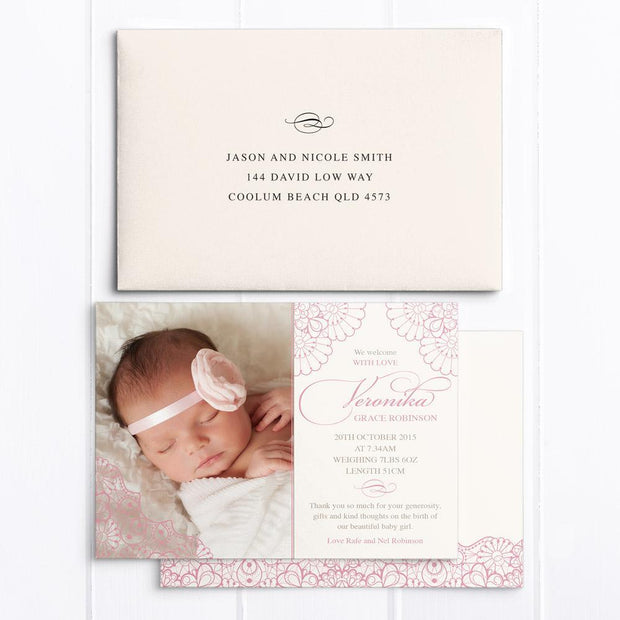 Baby birth announcement card with Photo and pink lace detail