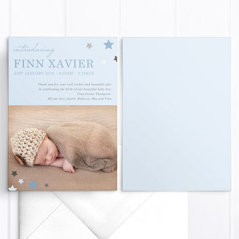 Baby thank you announcement card, light blue with stars in corner