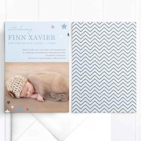 Baby thank you announcement card, chevron pattern with stars in corner