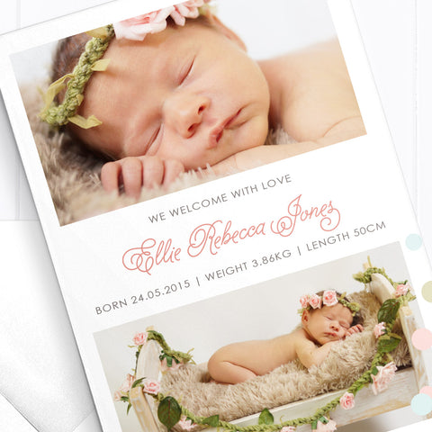 Baby Girl Birth Announcement - Miracle
