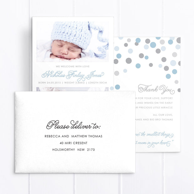 Photo boy baby thank you card, double side, includes poem verse
