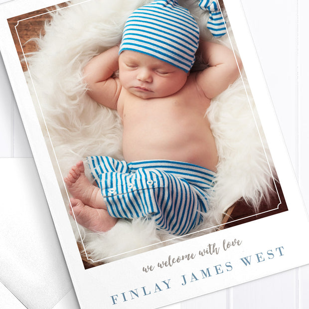 Photo boy baby thank you card, double side, includes monogram