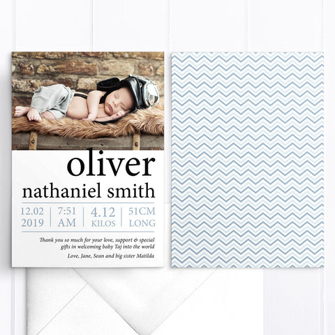Modern photo boy baby thank you card, bold name, double side