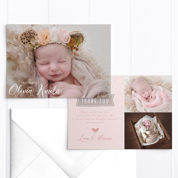 Baby girl photo birth announcement card with 3 photos in soft pink
