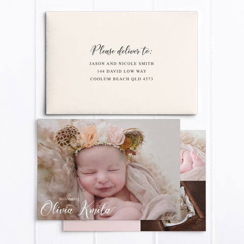 Baby girl photo birth announcement card with 3 photos