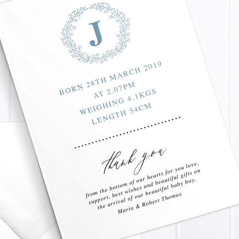 Baby boy birth announcement card, 3 photos, monogram, double sided
