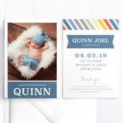 Funky baby boy birth announcement card, 1 photo, stripes, double sided