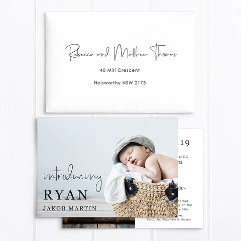 Baby boy birth announcement card, 2 photos, soft blue, modern calligraphy