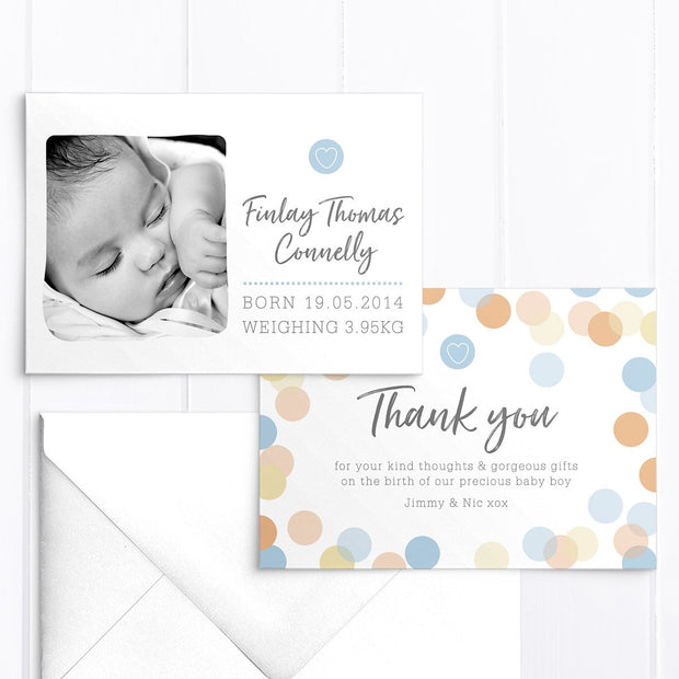 Photo baby boy birth announcement card, colourful spot background