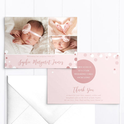 Pink baby girl photo birth announcement card with 3 photos