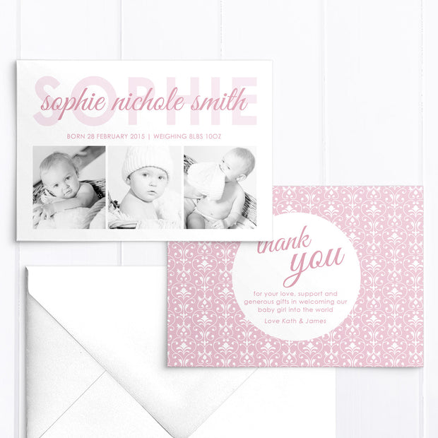Baby Girl Birth Announcement - Sophie