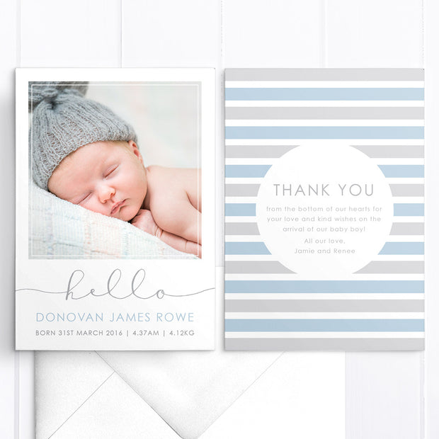 Baby boy photo birth announcement card with large hello, double sided card