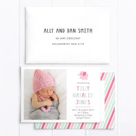 Baby Girl Birth Announcement - Tilly
