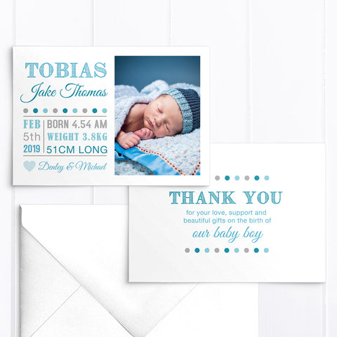 Photo baby birth announcement card, modern bright blue double sided