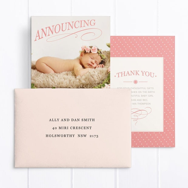 Baby girl announcement card with photo and vintage flourishes