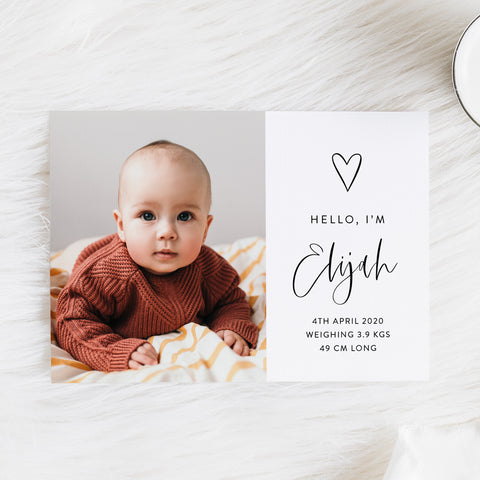 Baby boy photo birth announcement card with large photo of baby, hand drawn love heart and modern script font in black and white