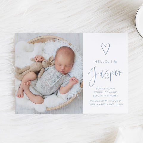 Baby boy photo birth announcement card with large photo of baby, hand drawn love heart and modern script font in baby blue