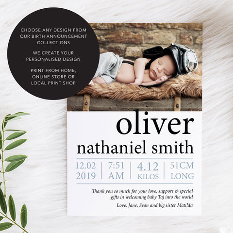 Print Your Own digital baby photo birth announcement cards, print from home budget baby cards