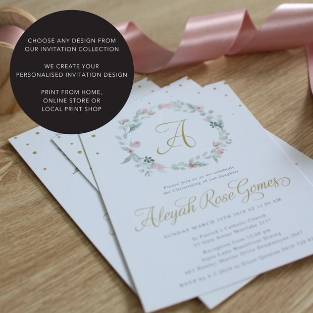 Print Your Own digital baptism invitations, photo christening invitations, print from home budget invitations