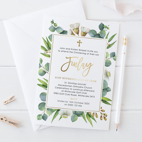 Gold foil Christening or Baptism invitation with eucalyptus leaves and modern script font, Professionally printed in Australia