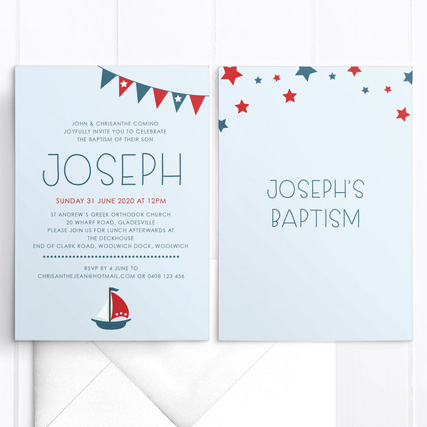 Little Boys baptism or christening invitation, double sided design with navy and red stars, flags and boat. Nautical invitation theme