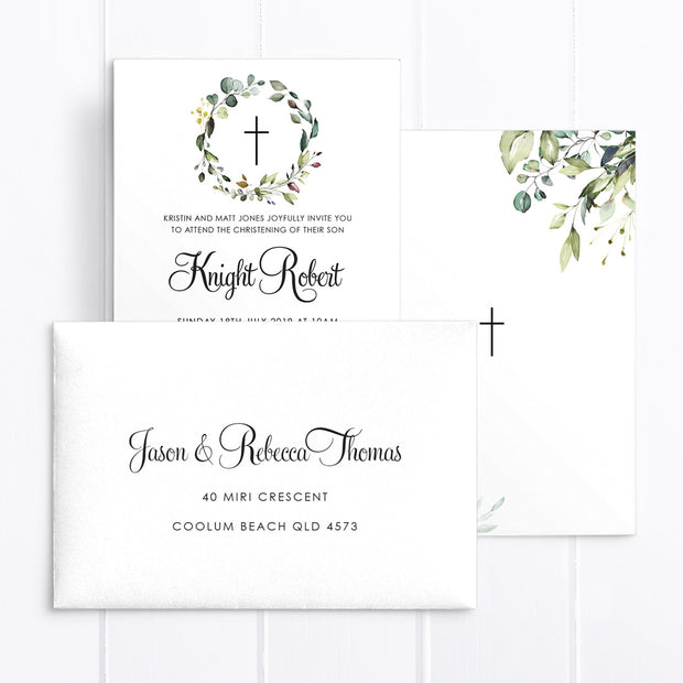 Leafy foliage baptism invitation with wreath and calligraphy font