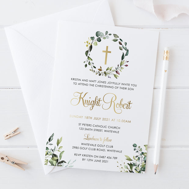 Gold foil Christening or Baptism invitation with greenery and wreath, catholic cross and modern script font, Professionally printed in Australia