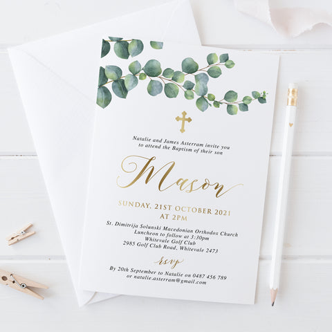 Baptism or Christening invitation with eucalyptus leaves and beautiful gold foil. Calligraphy font.
