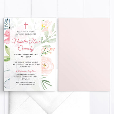 Beautiful baptism or christening invitation with soft pink and blue flowers and elegant calligraphy text and catholic cross in pink.