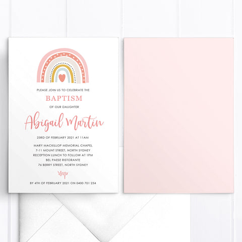 Baptism or Christening invitation with boho rainbow and modern script font, designed in Australia