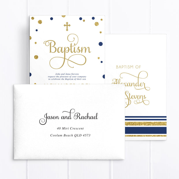 Navy blue and gold glitter baptism invitation with calligraphy font