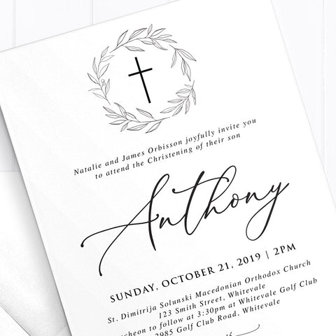 Modern Simplistic Baptism Christening Invitation with Wreath and Cross
