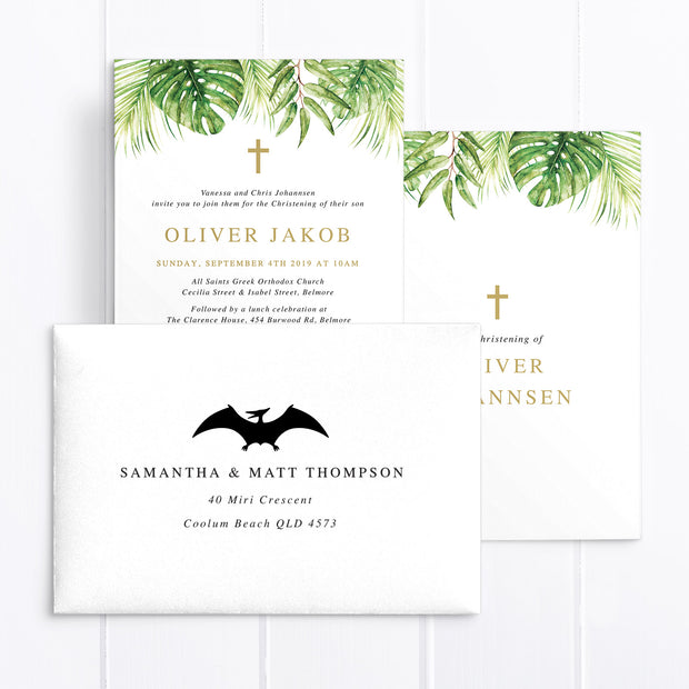 Tropical Gold Glitter Dinosaur Baptism Christening Invitation, double sided, includes cross and monstera and palm leaves